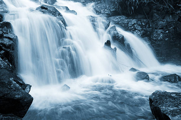peaceful waterfall - waterfall stock photos and pictures