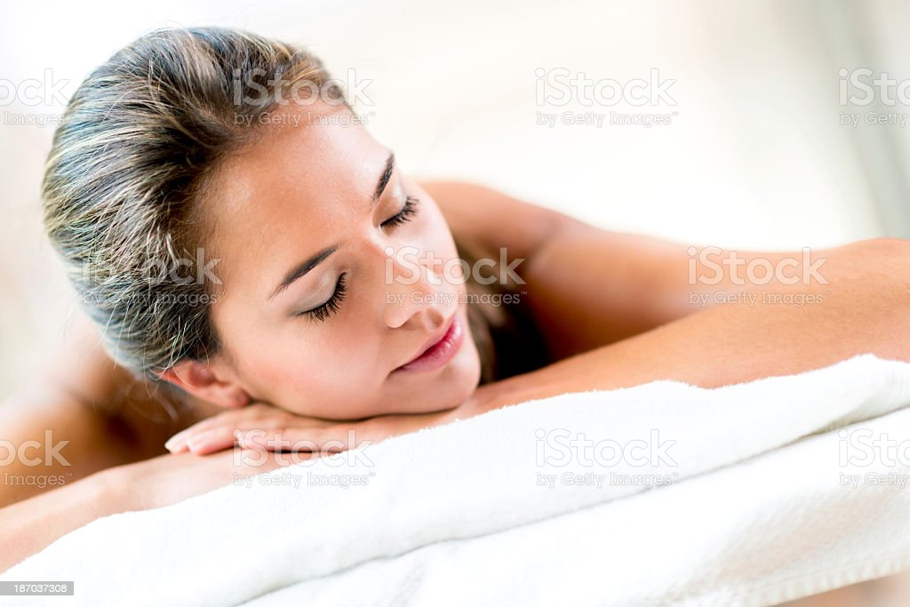 Peaceful woman at the spa stock photo