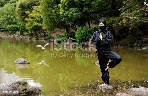 Ninja meditating on a stone in a lake.