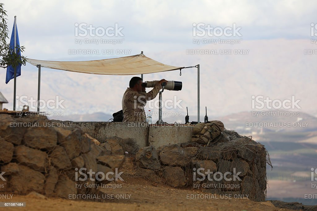 UN Peacekeeper on Mount Bental in the Golan Heights stock photo