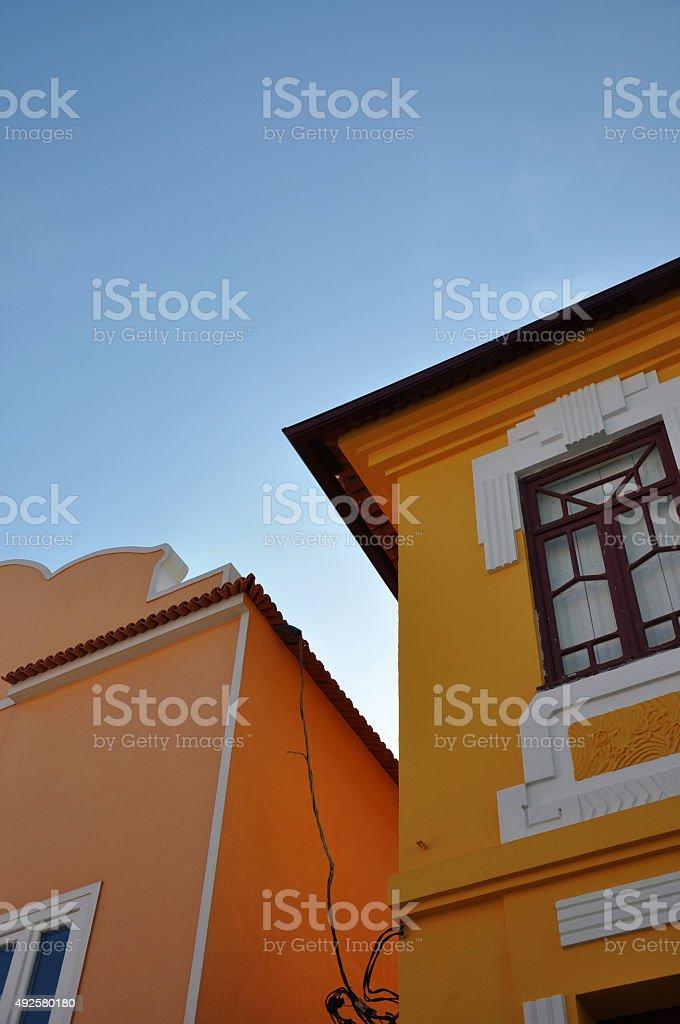 Peach and orange houses royalty-free stock photo