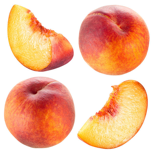 Peach and slice. Collection isolated on white. stock photo