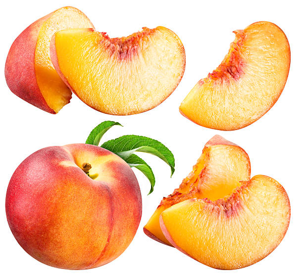 Peach and Slice isolated on white background stock photo