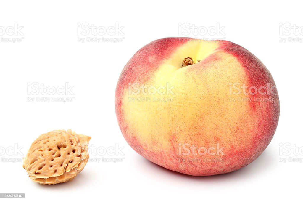 Peach and stone stock photo