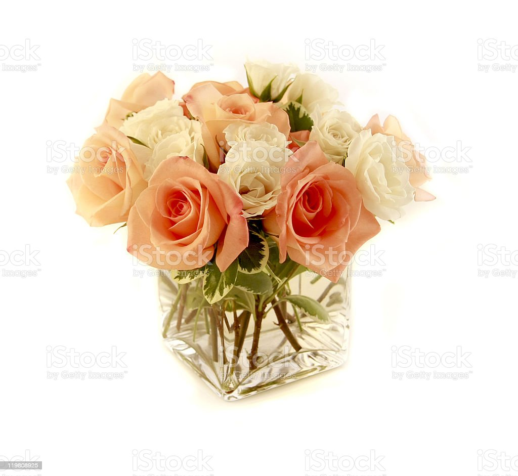 peach anniversary roses in vase stock photo