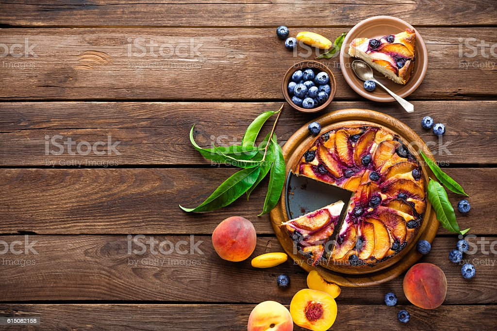 peach cake stock photo