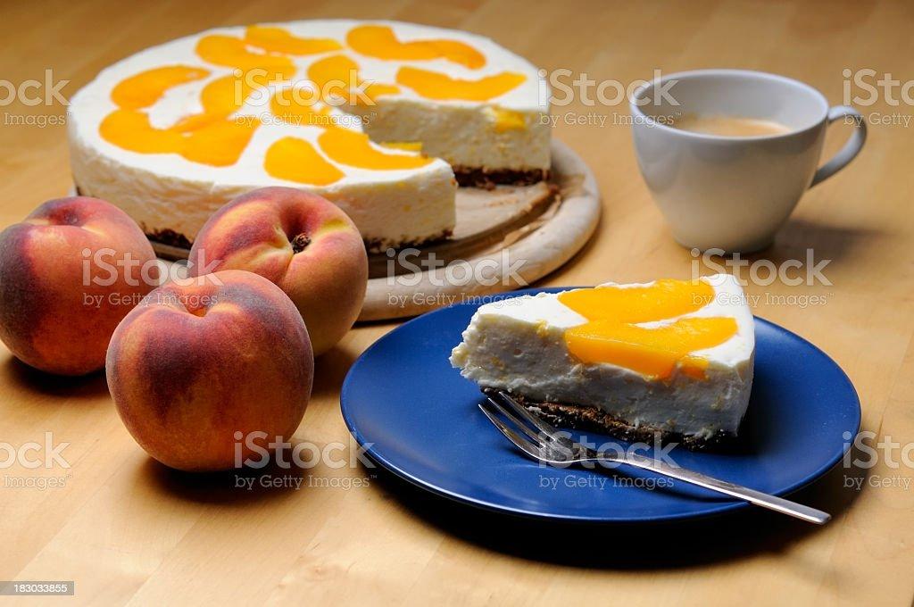 Peach cheese cake stock photo