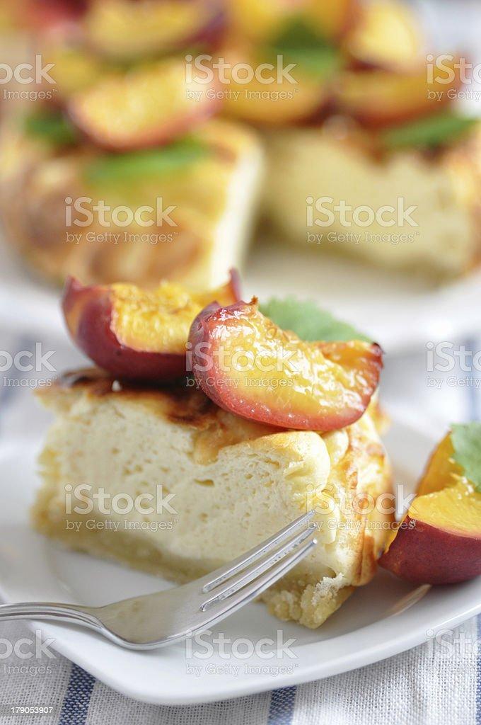 Peach Cheesecake royalty-free stock photo