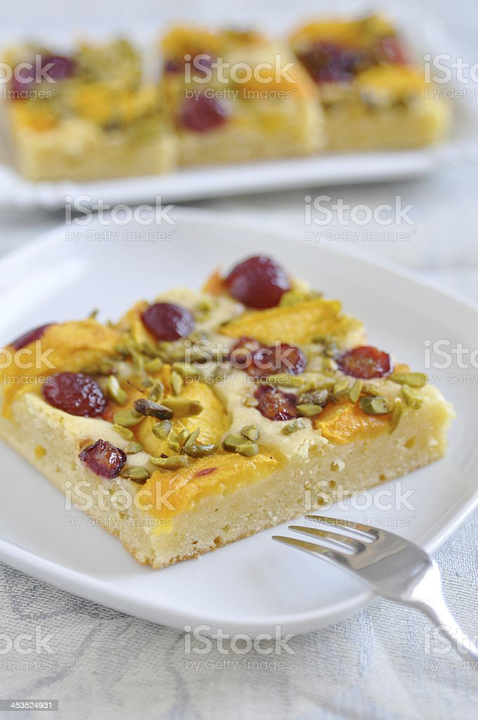 Peach Cherry Pie with Pistachios royalty-free stock photo