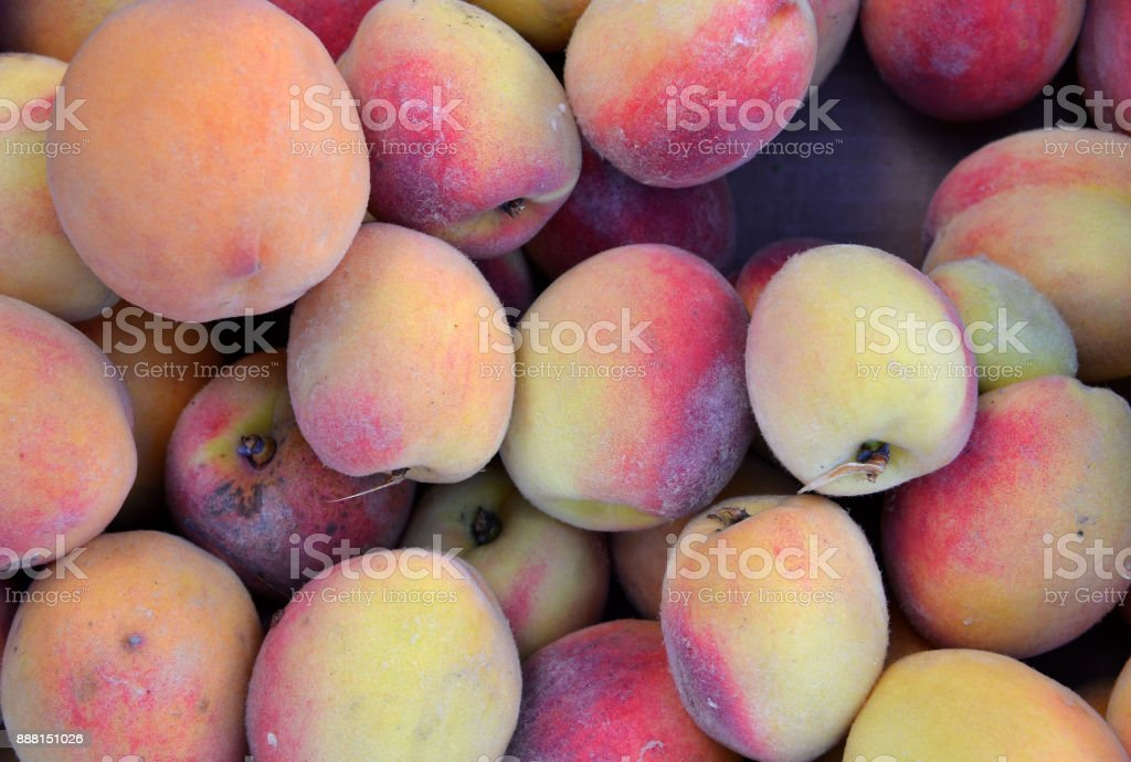 Peach close up fruit  background . Fresh from the farm stock photo