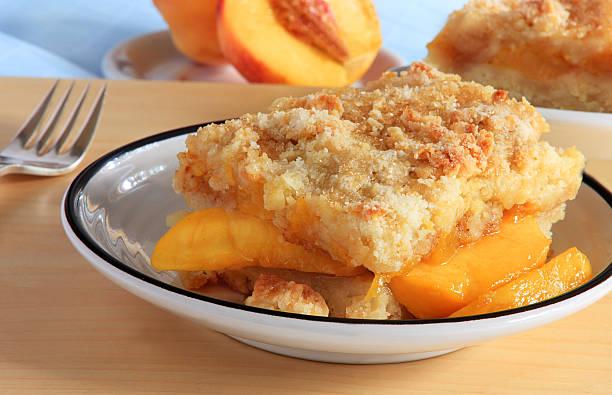 Peach cobbler stock photo