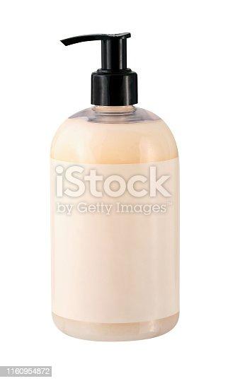 Peach colored plastic pump bottle