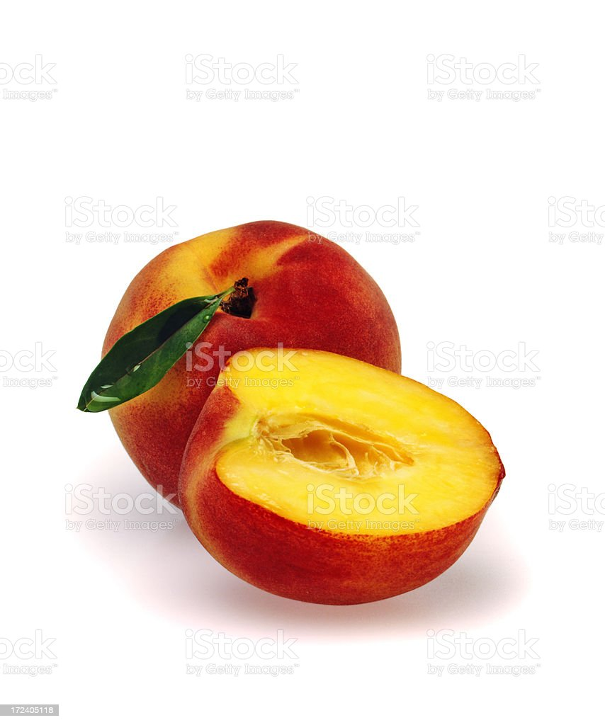 Peach duo with Leaf royalty-free stock photo