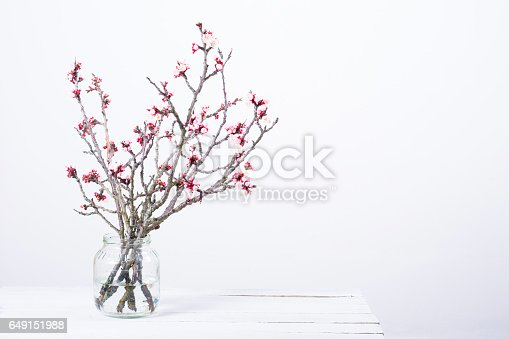 pink blossoming peach flower branches at fruit jar on white wooden table
