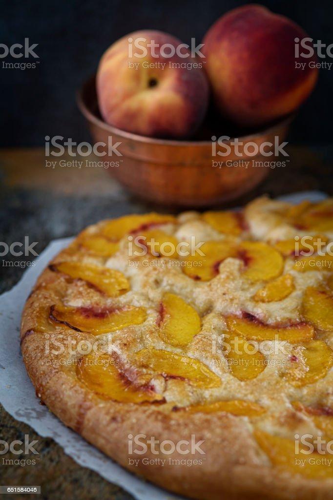 Peach Focaccia stock photo