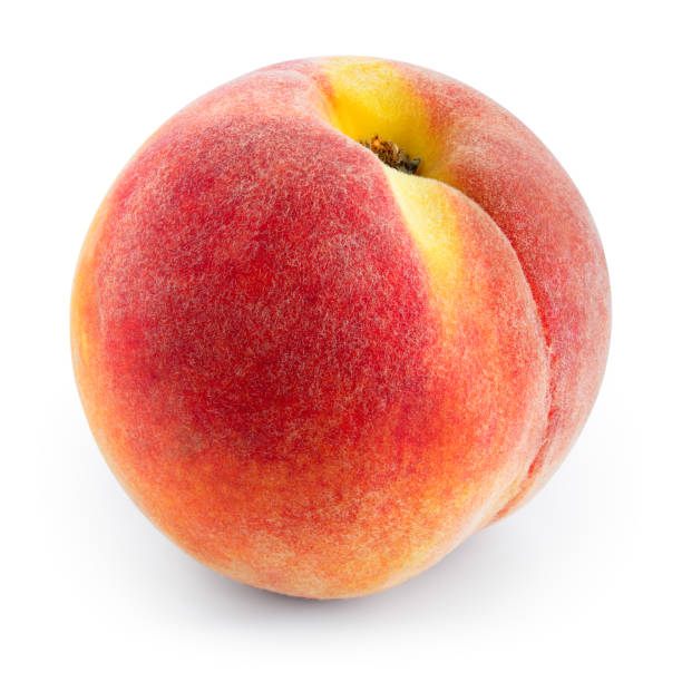 Peach. Fresh ripe fruit isolated on white. With clipping path. stock photo