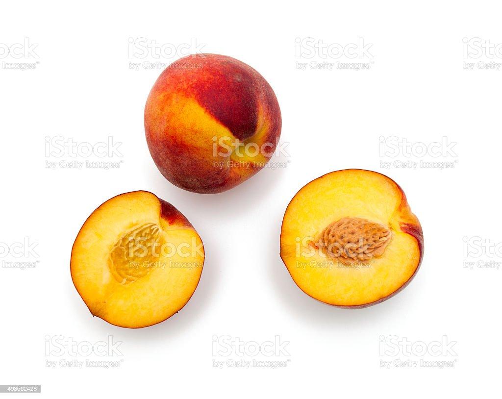 Pfirsich Früchten isoliert auf weiss – Foto