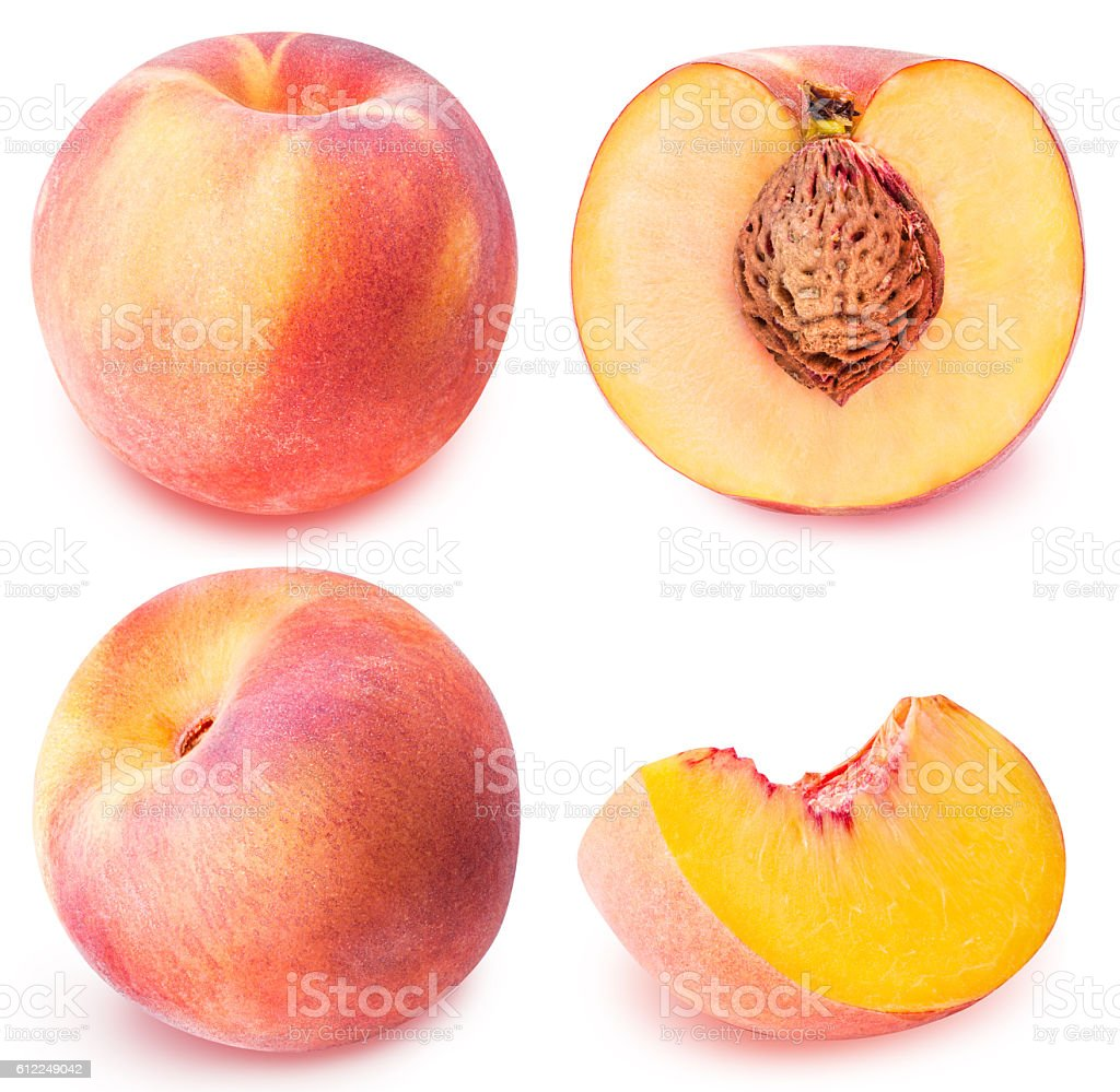 peach fruit sliced collection isolated on white background stock photo