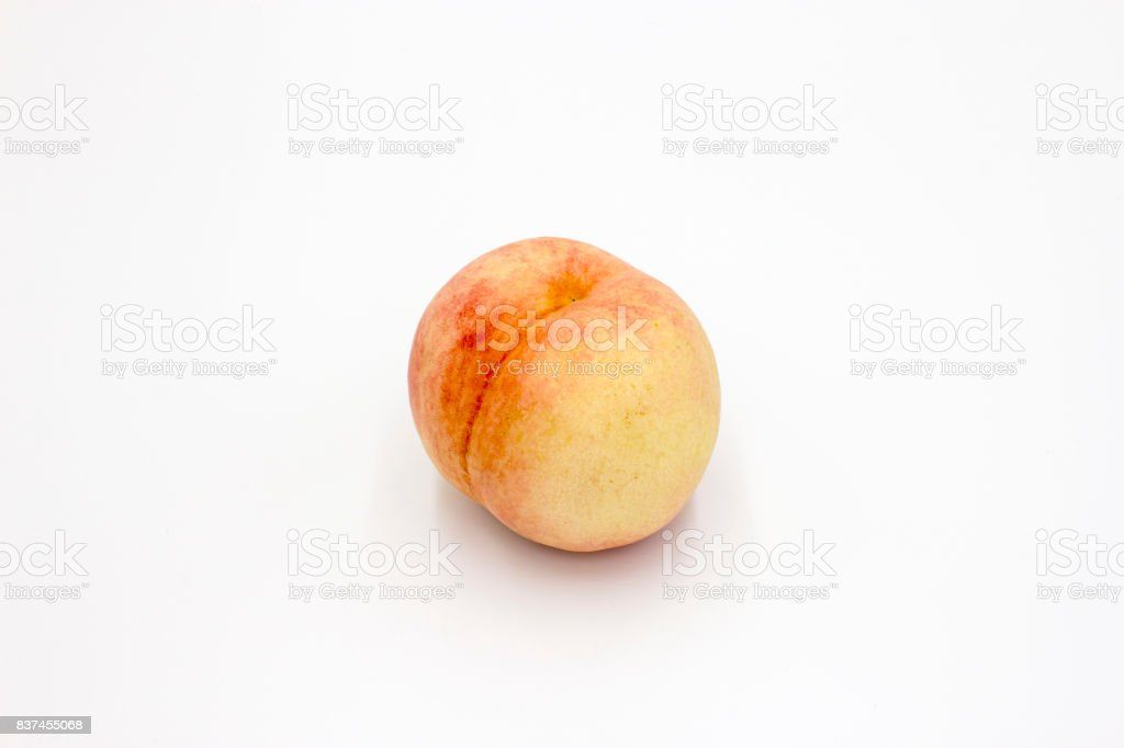 Peach. Fruit with slice isolated on white background stock photo