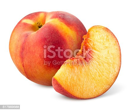 Peach. Fruit with slice isolated on white.