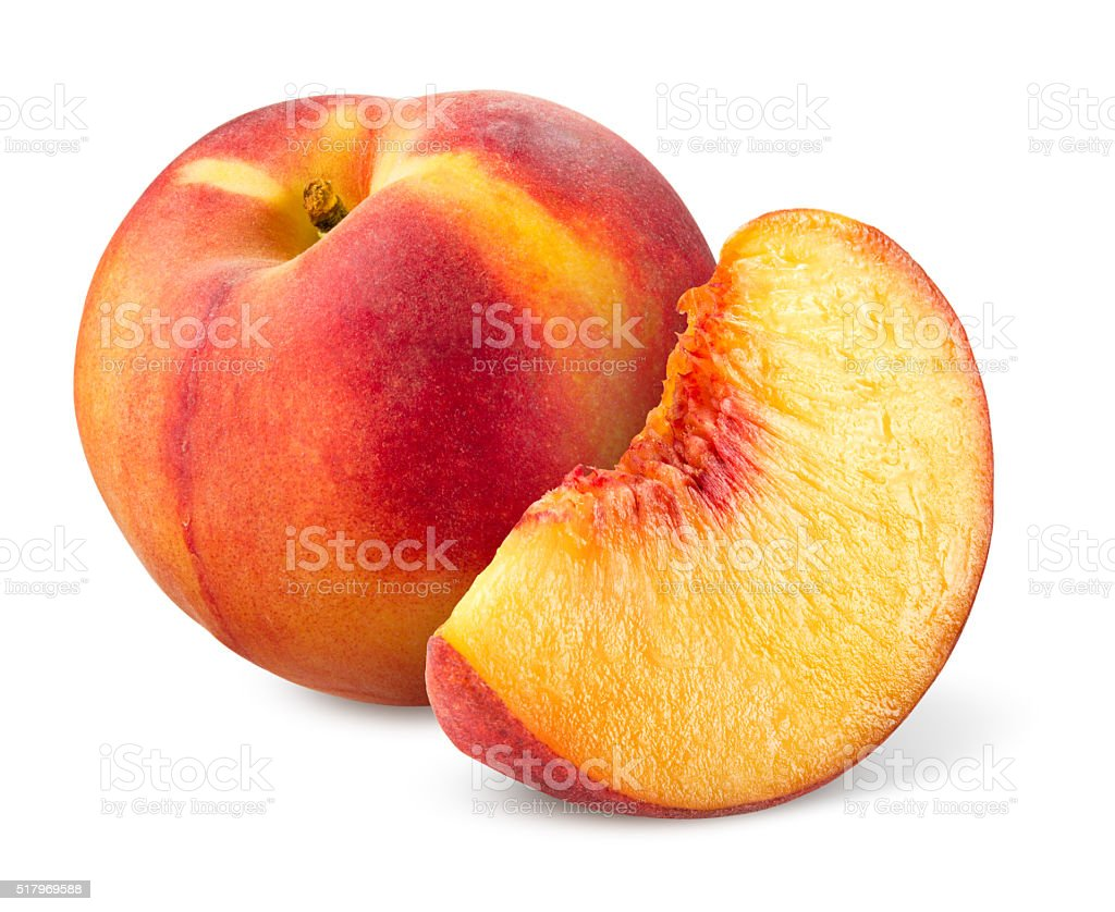 Peach. Fruit with slice isolated on white. stock photo