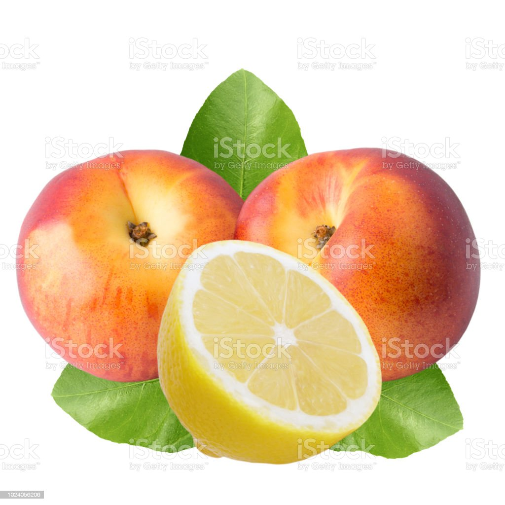 Peach fruits and lemon isolated on white background - foto stock