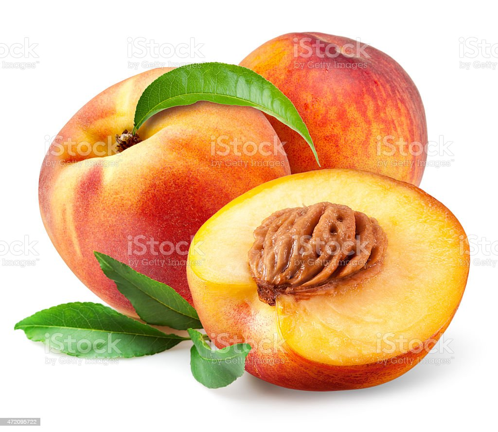 Peach. Fruits with leaves isolated on white background stock photo