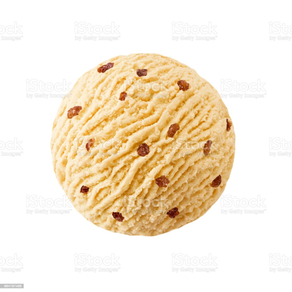 Peach ice cream scoop with raisins pieces royalty-free stock photo