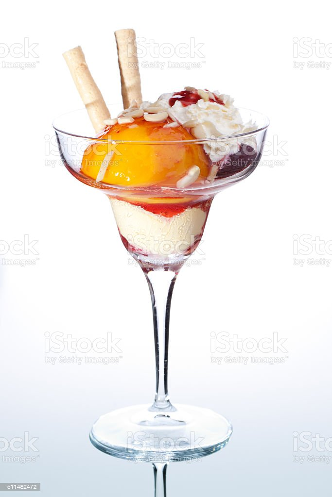 peach ice cream sundae stock photo