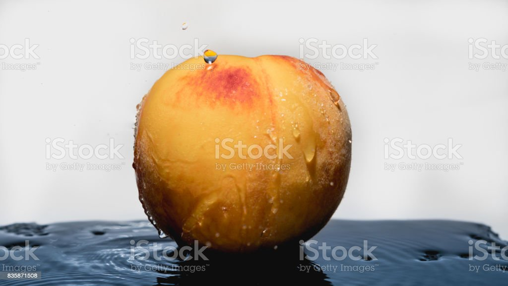 Peach in white background stock photo