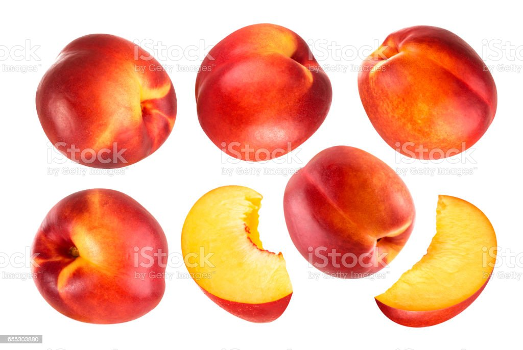 Peach isolated. Collection of whole and cut peach fruits isolated on white background with clipping path stock photo