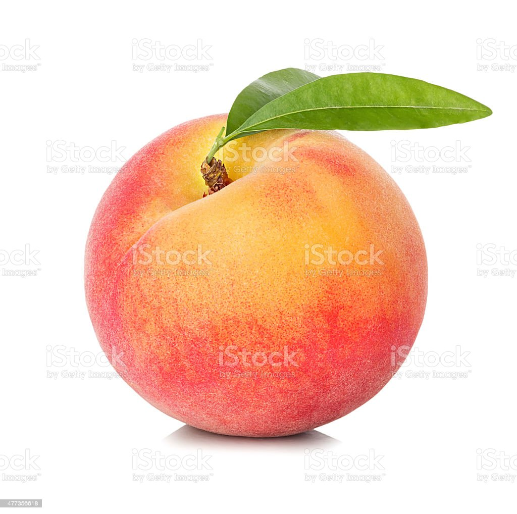 Peach isolated on white background stock photo