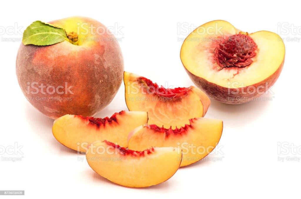Peach isolated on white stock photo