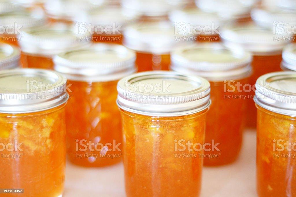 Peach Jam Bottles stock photo