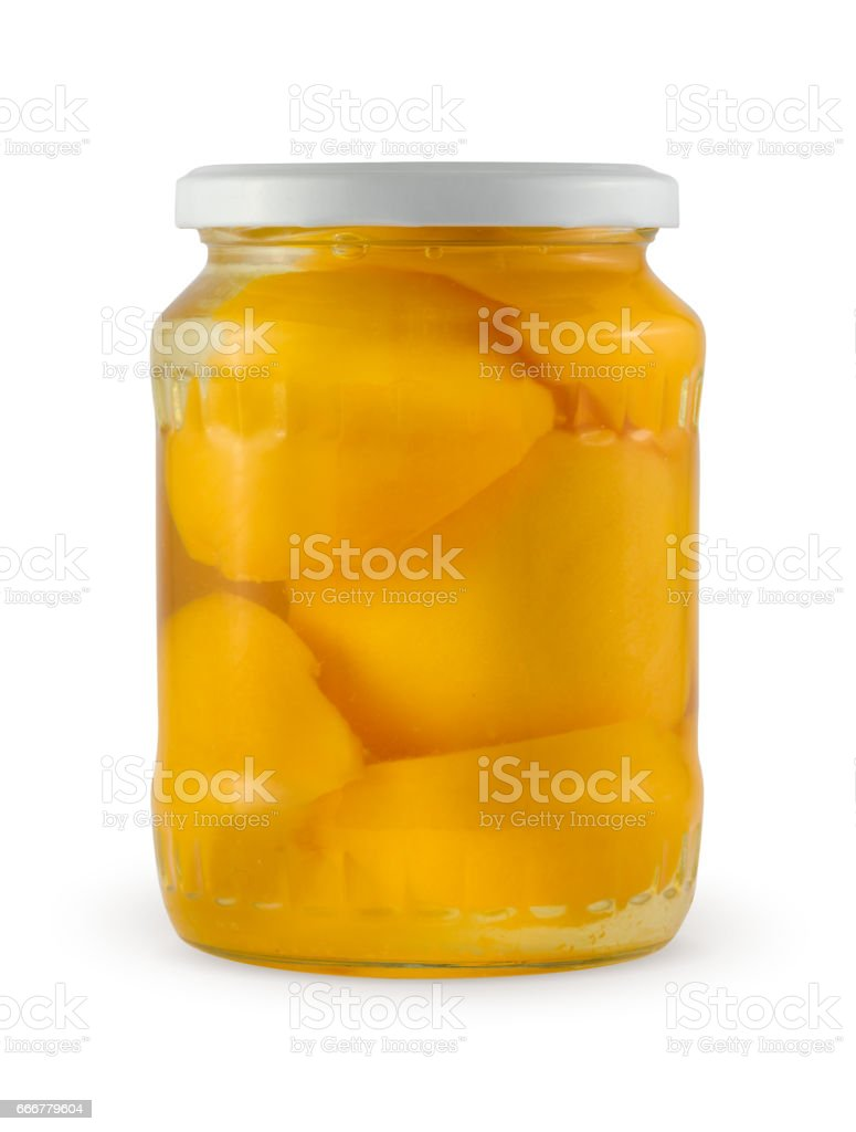 Peach jam in glass jar isolated with clipping path. stock photo