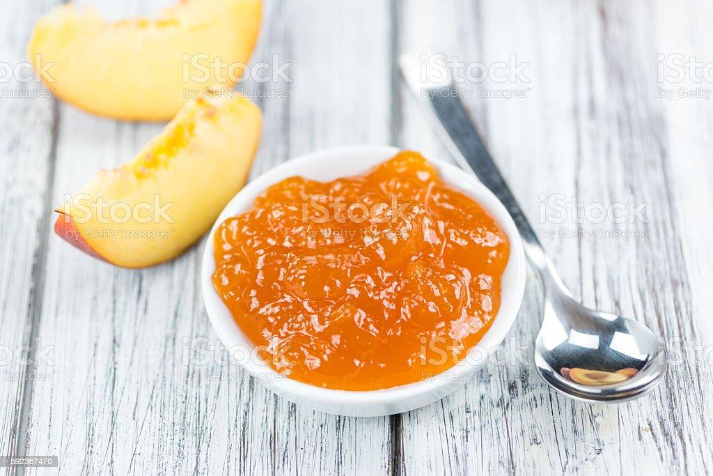 Peach Jam (selective focus) stock photo