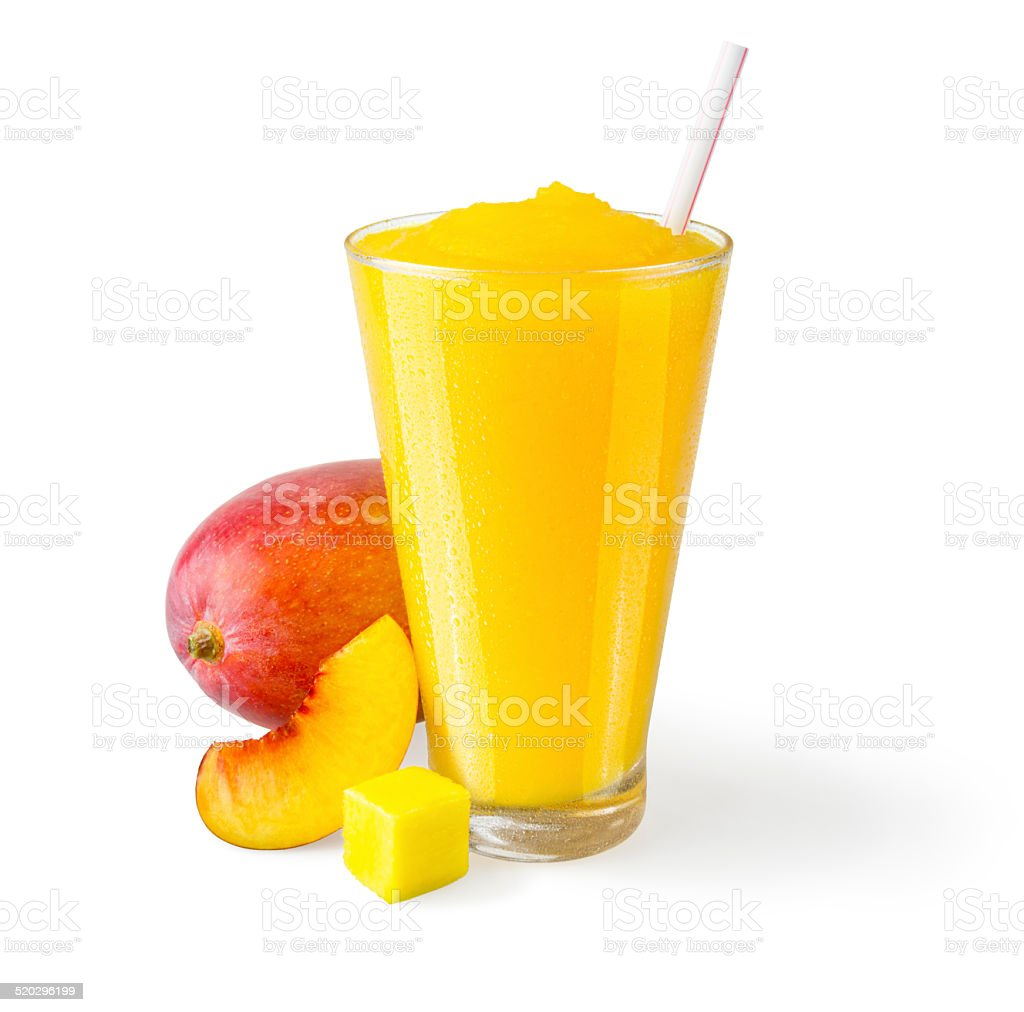 Peach Mango Smoothie with Garnish on White Background stock photo