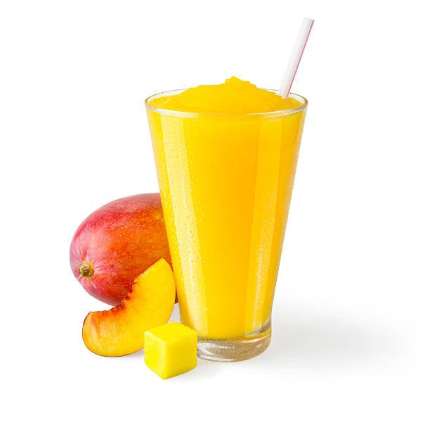 Peach Mango Smoothie with Garnish on White Background stock photo