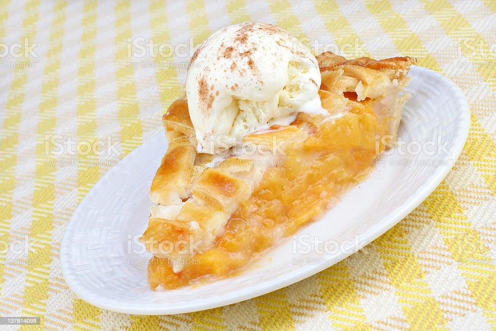 Peach Pie and Ice Cream royalty-free stock photo
