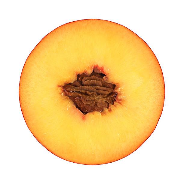 peach teile auf weiß - peach stock-fotos und bilder