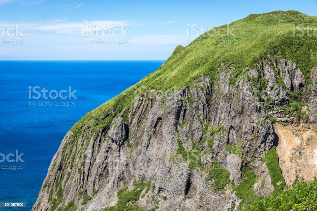 Peach Rock Closeup, Rebun Island, Japan stock photo