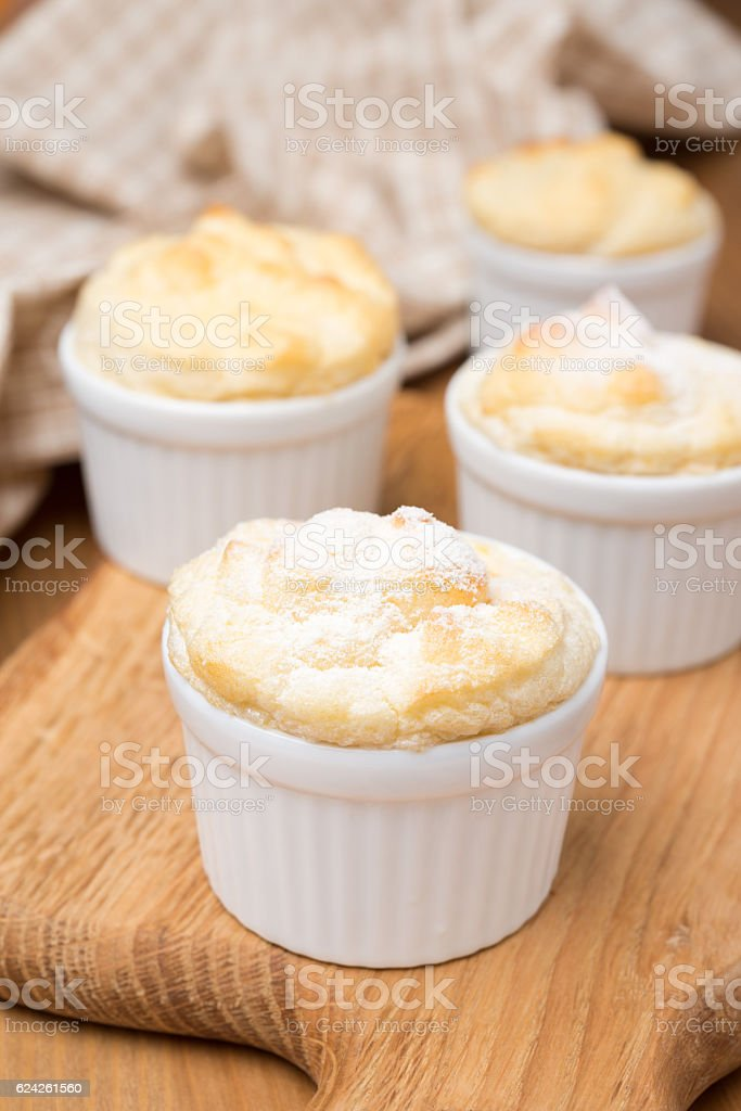 peach souffle in portioned forms stock photo