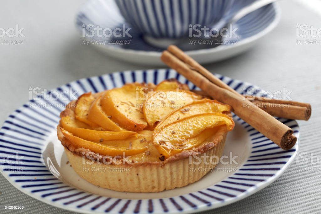 Peach tart stock photo