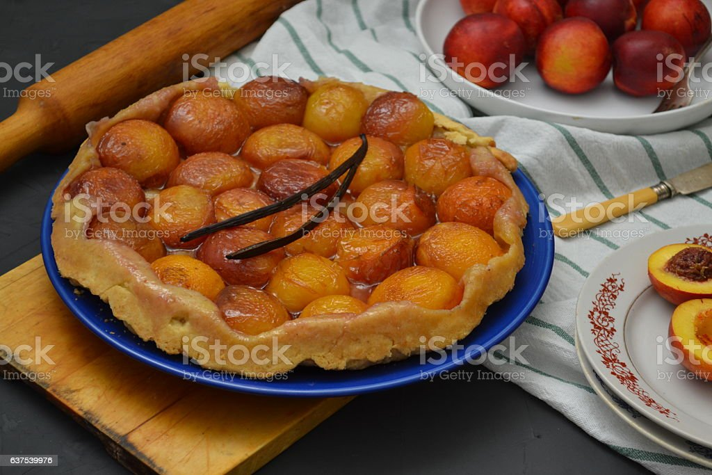 Peach tarte tatin stock photo