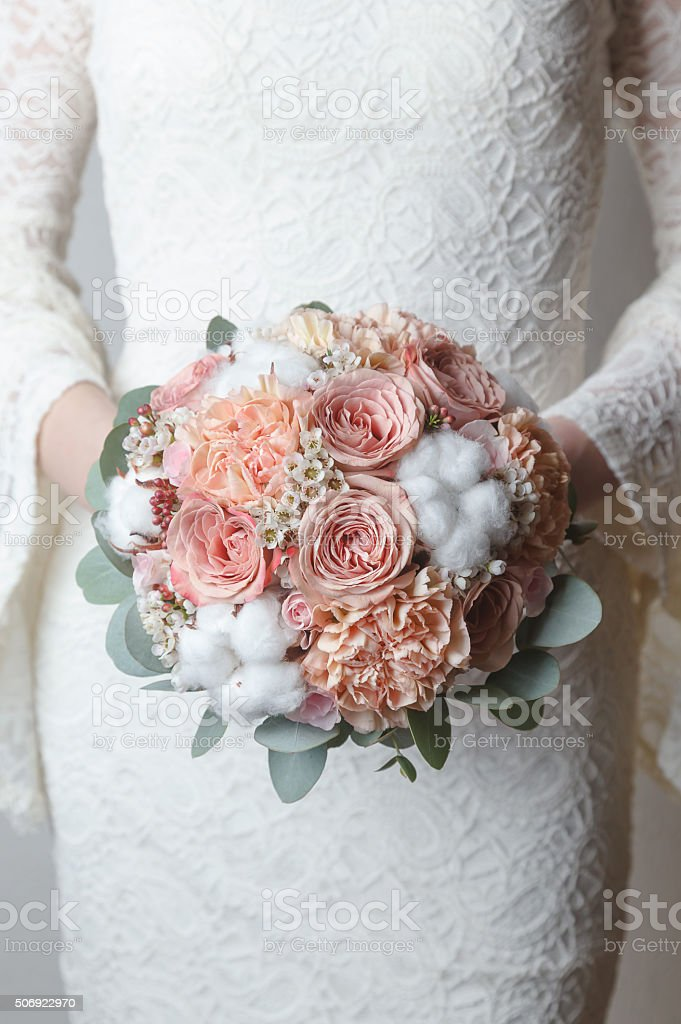 Peach Wedding Bouquet With Cotton Flowers Stock Photo & More ...