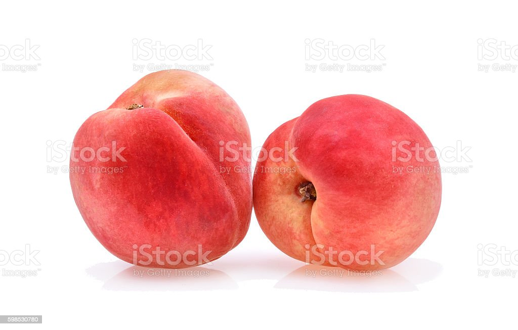 Peach with isolated on white stock photo