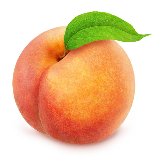 Peach with leaf. Full depth of field. stock photo
