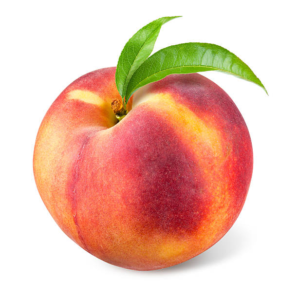 pfirsich mit blatt, isoliert auf weiss - peach stock-fotos und bilder