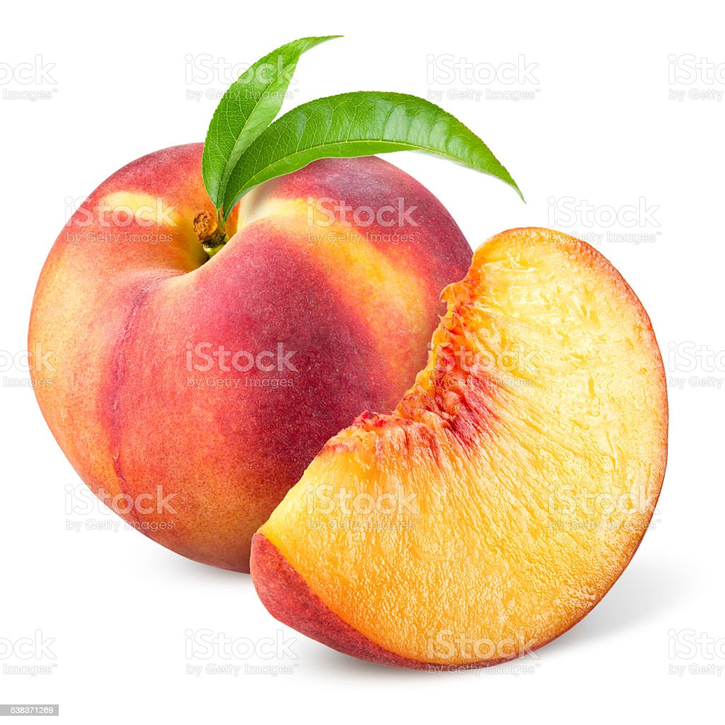 Peach with slice and leaves isolated on white stock photo