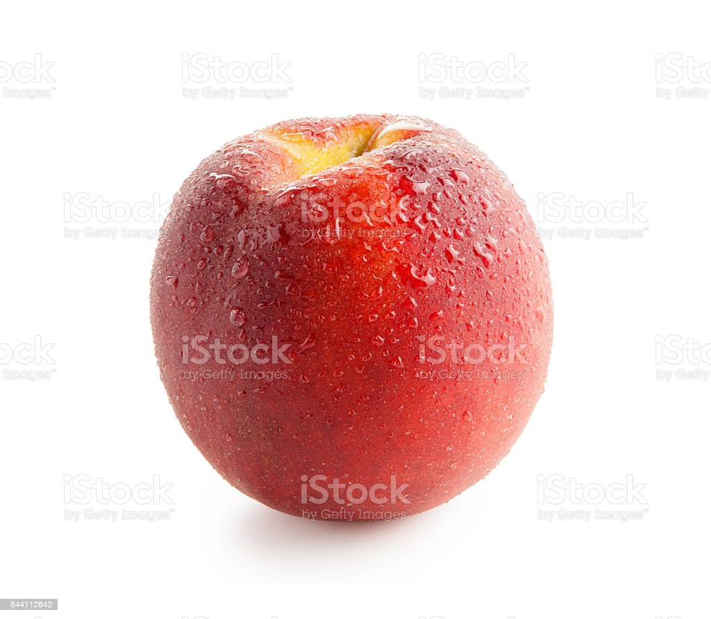 Peach with water drops isolated on white background stock photo